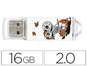 MEMORIA USB TECHONETECH FLASH DRIVE 16 GB 2.0 CALAVERA MOTO