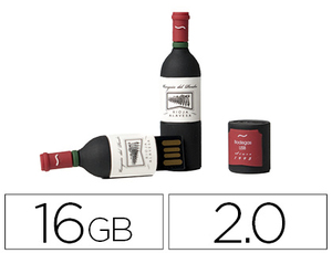 MEMORIA USB TECHONETECH FLASH DRIVE 16 GB 2.0 BOTELLA DE VINO