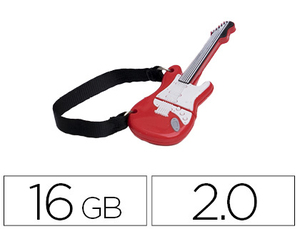 MEMORIA USB TECHONETECH FLASH DRIVE 16 GB 2.0 GUITARRA RED ONE