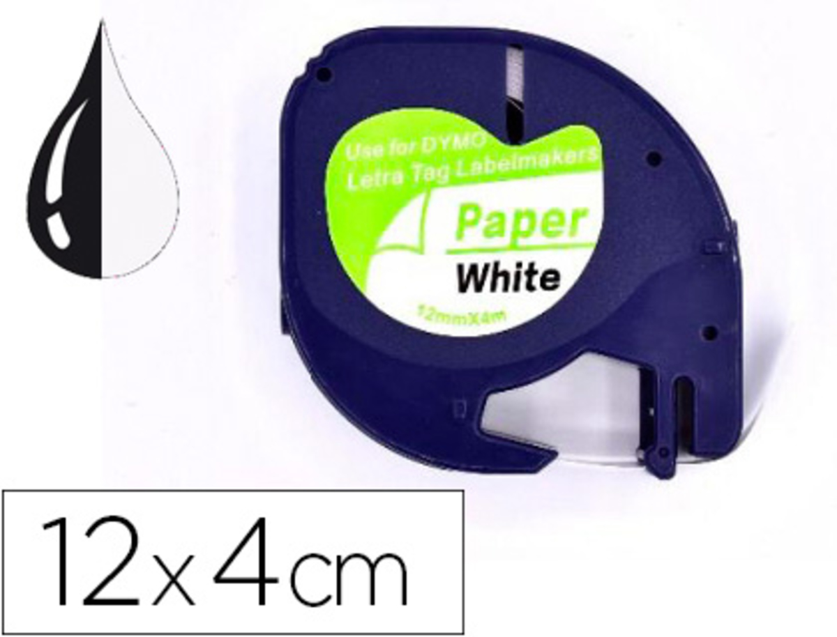 CINTA Q-CONNECT PAPEL 12MM X 4MT NEGRO-BLANCO PARA LETRATAG