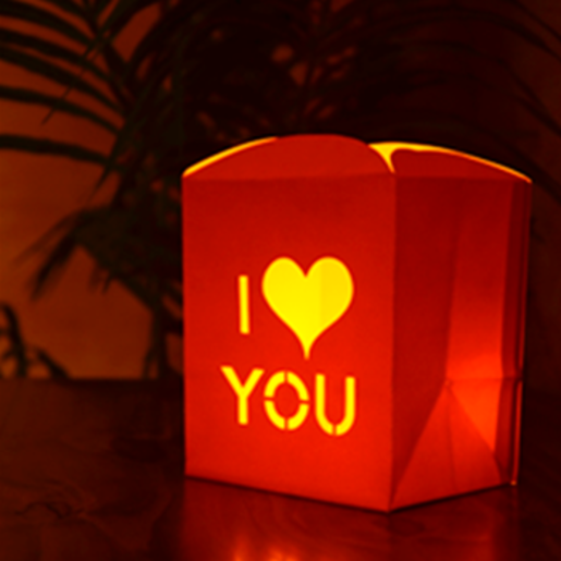 "Bolsas de Papel para Luz con Velas ""I LOVE YOU"""