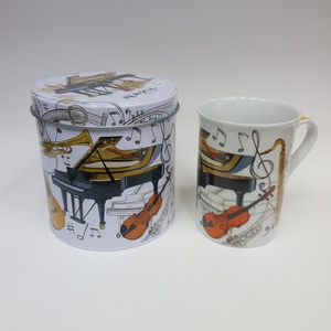 TAZA MUG PORCELANA DECORADO MUSICAL